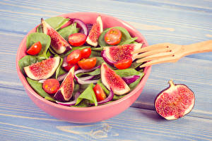 Picture Salads Vegetables Tomatoes Common fig Boards