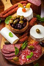Fotos Wurst Käse Oliven Geschnittene Lebensmittel