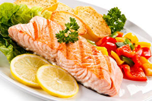 Pictures Seafoods Fish - Food Lemons Vegetables Food