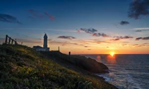 Hintergrundbilder Spanien Küste Morgendämmerung und Sonnenuntergang Leuchtturm Gras Santander Cantabria Natur