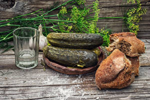 Images Still-life Vodka Cucumbers Bread Dill Boards Highball glass