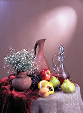 Wallpapers Still-life Wine Fruit Pears Apples Grapes Table Jug container Vase Food
