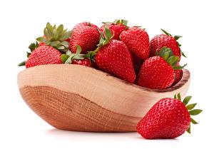Hintergrundbilder Erdbeeren Großansicht Weißer hintergrund Lebensmittel