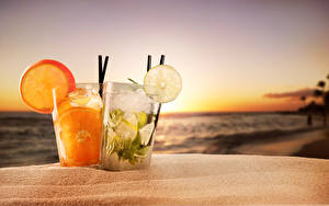 Picture Sunrises and sunsets Drink Citrus Highball glass Two Food