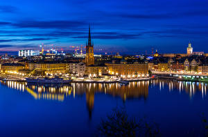 Photo Sweden Stockholm Houses Rivers Marinas Ships Night Cities