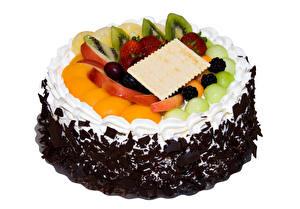 Bilder Süßigkeiten Torte Obst Schokolade Weißer hintergrund Design Lebensmittel