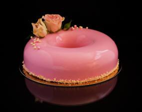 Bilder Süßware Torte Rosen Schwarzer Hintergrund Design Rosa Farbe Lebensmittel