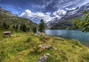 Fotos Schweiz Gebirge See Gebäude Steine Landschaftsfotografie HDRI Gras Engstlensee