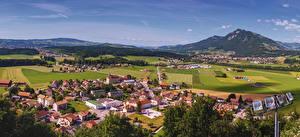 Bilder Schweiz Landschaftsfotografie Gebäude Felder Hügel Lavaux region Städte