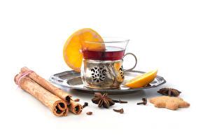Hintergrundbilder Tee Zimt Sternanis Kekse Weißer hintergrund Tasse Teller Lebensmittel