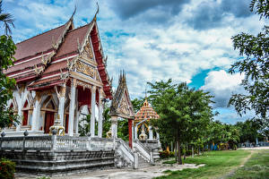 Bureaubladachtergronden Thailand Tempel Ontwerp Buddhist Temples Buriram Steden