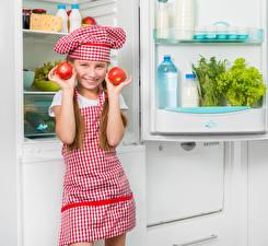 Pictures Tomatoes Little girls Refrigerator Smile Hands Winter hat Children