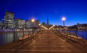 Picture USA Bridges Building San Francisco Night Bench Street lights Fence Cities
