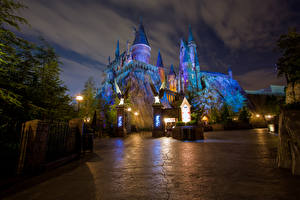 Wallpaper USA Disneyland Parks Castles California Anaheim Design Night time HDRI Street lights Cities