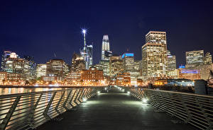Pictures USA Building Bridges San Francisco Street lights Fence Night Cities