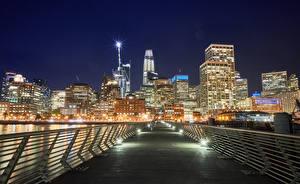 Bilder Vereinigte Staaten Gebäude Brücken San Francisco Straßenlaterne Zaun Nacht Städte