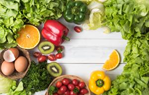 Pictures Vegetables Bell pepper Kiwifruit Food