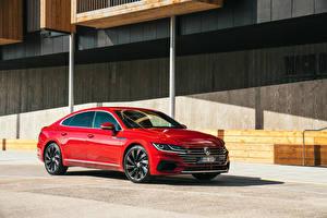 Bakgrundsbilder på skrivbordet Volkswagen Röd Metallisk 2017-18 Arteon bil
