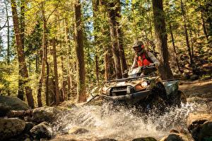 Fotos ATV Wald Mann Wasser spritzt Helm
