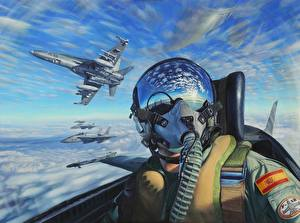 Wallpapers Airplane Pictorial art Helmet Cockpit Aviation