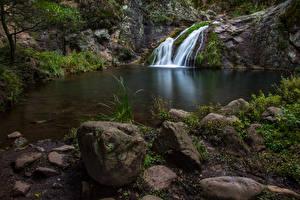 Fotos Australien Wasserfall Steine Felsen Waterfall Jenolan Caves Natur