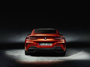 Pictures BMW Back view Orange Coupe 8-Series 8er 2018 automobile