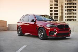 Hintergrundbilder BMW Rot Sight X5M F85 Autos