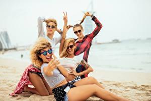 Pictures Beach Blonde girl Eyeglasses Joy Sit Selfie Girls