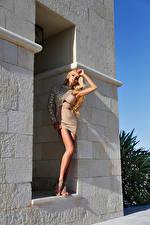 Hintergrundbilder Blondine Starren Kleid Mädchens