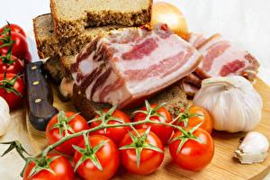 Fotos Brot Knoblauch Tomate Salo - Lebensmittel Lebensmittel