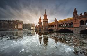 Images Bridge Germany Berlin Rivers Ice  Cities
