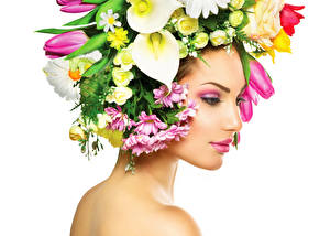 Picture Bog Arum Tulips White background Face Makeup Girls