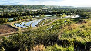 Hintergrundbilder Kanada Landschaftsfotografie Park Flusse Gras Design Bowmont Park Calgary Natur