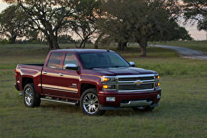 Hintergrundbilder Chevrolet Dunkelrote Pick-up Metallisch 2014 Silverado High Country Autos