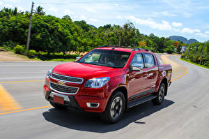 Hintergrundbilder Chevrolet Rot Bewegung Pick-up Metallisch 2015 Colorado High Country  Sport Edition