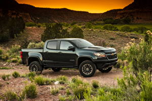 Bilder Chevrolet Pick-up Grün Metallisch 2017 Colorado ZR2 Crew Cab