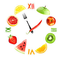Images Clock Fruit Apples Citrus Watermelons Strawberry Bell pepper Creative Clock face White background
