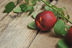 Images Closeup Peaches Wood planks Branches Food