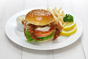 Fotos Krabben Gemüse Hamburger Bretter Teller Lebensmittel