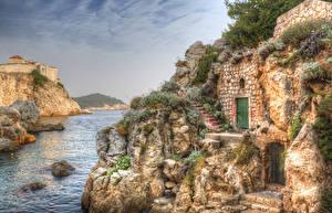 Fotos Kroatien Gebäude HDRI Felsen Treppe Bucht Dubrovnik
