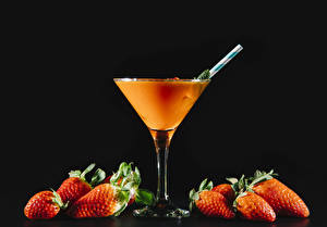 Pictures Drink Strawberry Cocktail Black background Stemware Food