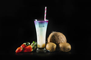 Pictures Drinks Strawberry Kiwi Coconuts Black background Highball glass Food