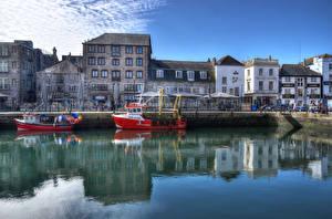 Bilder England Haus Flusse Schiffsanleger Binnenschiff HDR Barbican Plymouth