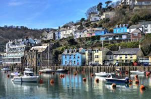 Bilder England Flusse Gebäude Bootssteg Motorboot HDRI Looe Cornwall
