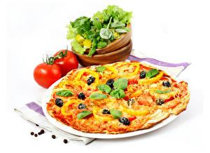 Hintergrundbilder Fast food Pizza Gemüse Tomaten Weißer hintergrund Basilienkraut Lebensmittel