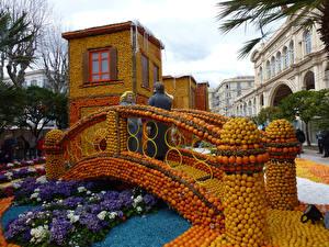 Hintergrundbilder Frankreich Park Brücken Schlüsselblumen Zitrusfrüchte Design Lemon Festival Menton Städte