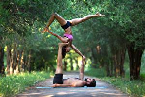 Pictures Gymnastics Men Two Legs Hands sports Girls