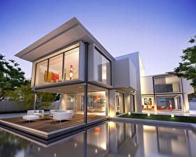 Pictures Houses Mansion Design Swimming bath High-tech style 3D Graphics