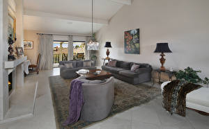 Image Interior Design Lounge sitting room Sofa Carpet Chandelier