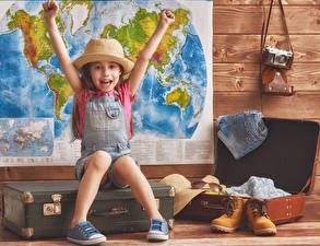 Photo Little girls Joy Hat Hands Suitcase Boots Camera child
